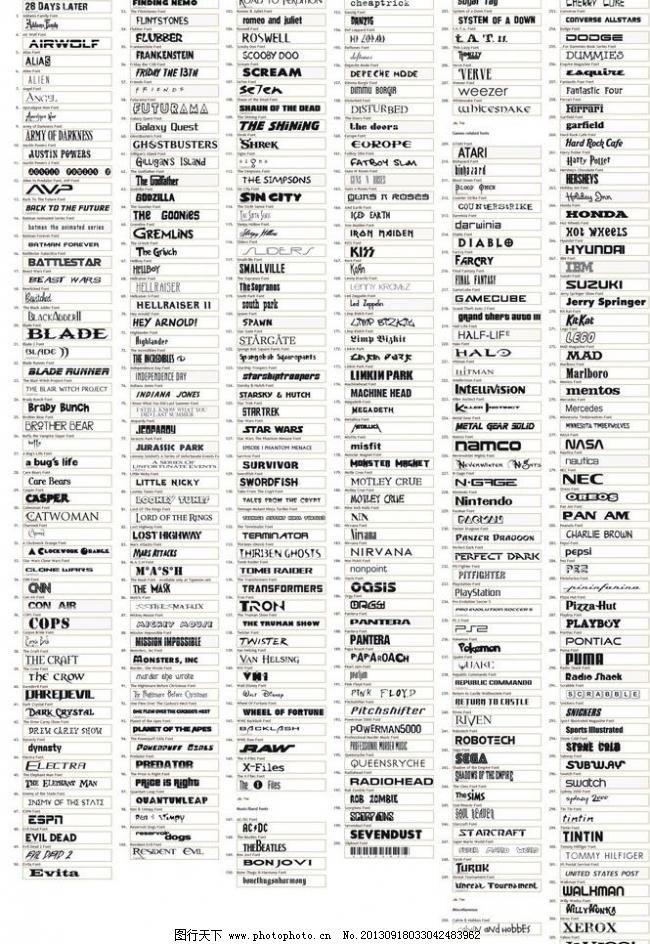 300款精选英文字体下载 哥特 广告字体 毛笔 毛笔字体 美术