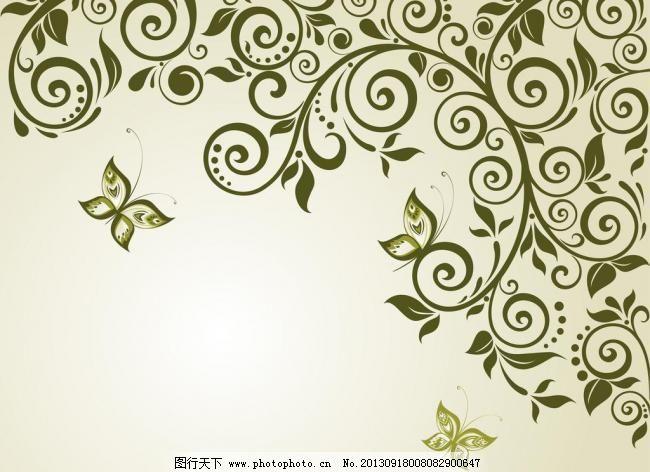 手绘 花纹 印染花纹 墙纸 墙帖 壁纸 底纹 花边 边框 植物 叶子 藤蔓