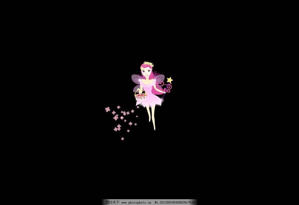 卡通女孩 花瓣 飘落的花瓣 背影 花篮 小仙女 动态素材集 源文件图片