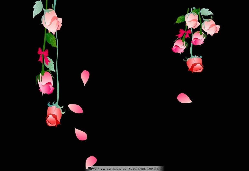 卡通玫瑰花 花瓣 飘落的花瓣 动态素材集 源文件图片