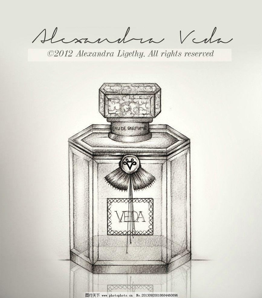 香水插画 手绘香水瓶 时尚插画 素描 香水瓶 时尚 其他 动漫动画 设计