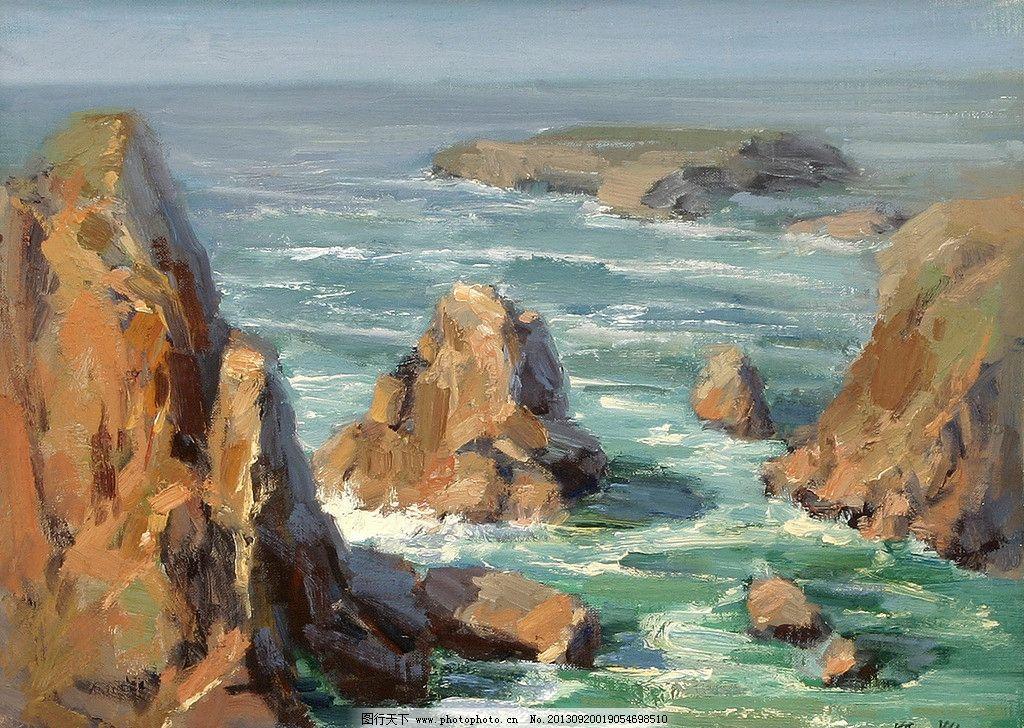 油画风景海边分享展示图片