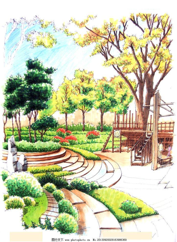 手绘景观图片_景观设计_环境设计_图行天下图库