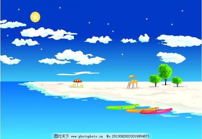 绿色大树 商业插画 树叶 小树 云朵 滩风景插画平面设计矢量素材 海滩图片