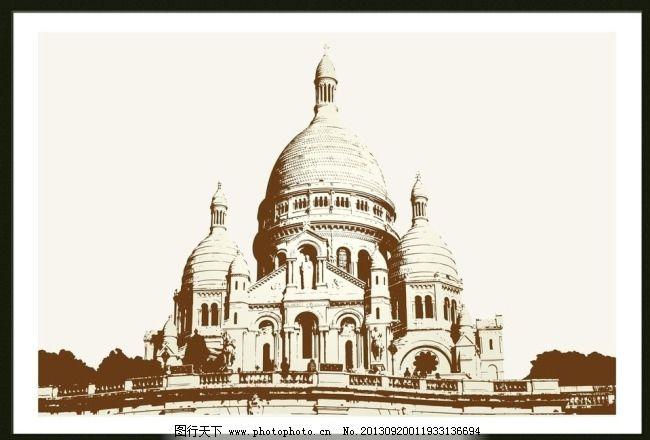 建筑装饰画素材下载 城堡 抽象画 古建筑 黑白建筑 黑白建筑装饰画