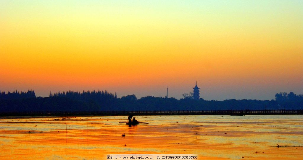 朝霞 淀山湖 一叶小舟 日出 天空 自然风景 自然景观 摄影 72dpi jpg