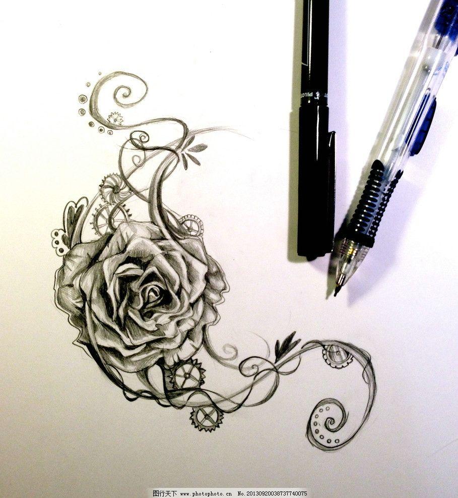 高清拍摄玫瑰插画 铅笔画 素描 黑白 时钟 羽毛 翅膀 闹钟 炭笔