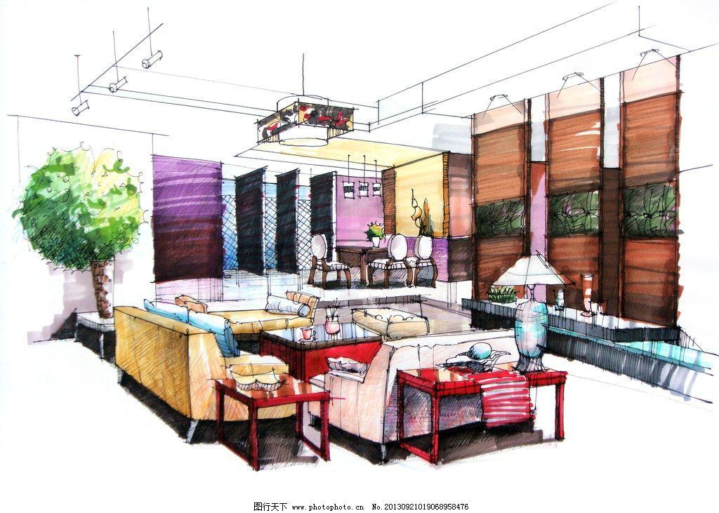 室内设计手绘 设计速写 室内装潢 桌椅 沙发 背景墙 植物 吊灯 窗户