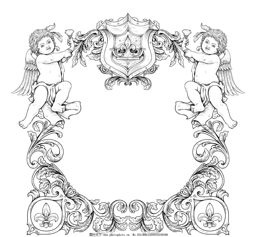 矢量 手绘花纹古典花纹底纹 花纹花边 底纹边框 eps 欧式花纹边框相框