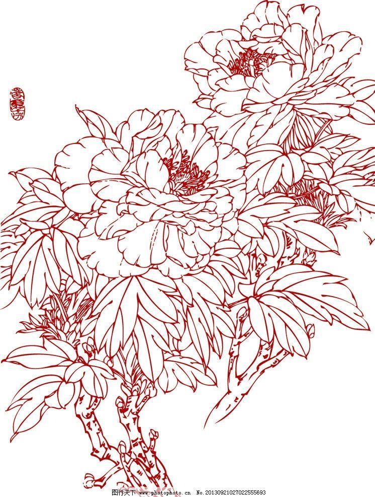 白描牡丹 白描花卉 植物 花卉 白描 线描 花草 生物世界 矢量 ai