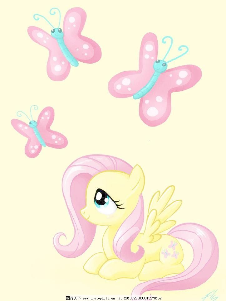 卡通动物小马插画图片,彩铅 彩色 翅膀 动漫动画 粉色