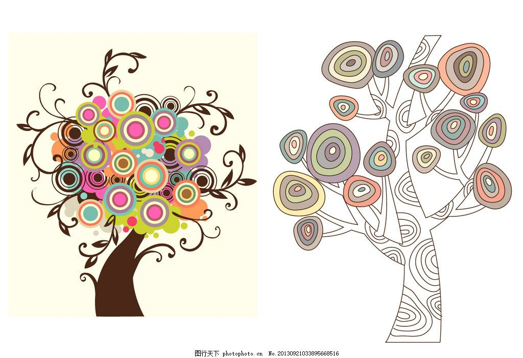 叶子图案 清新色彩 植物 风景插画 梦幻树叶 无框画 壁画      窗花