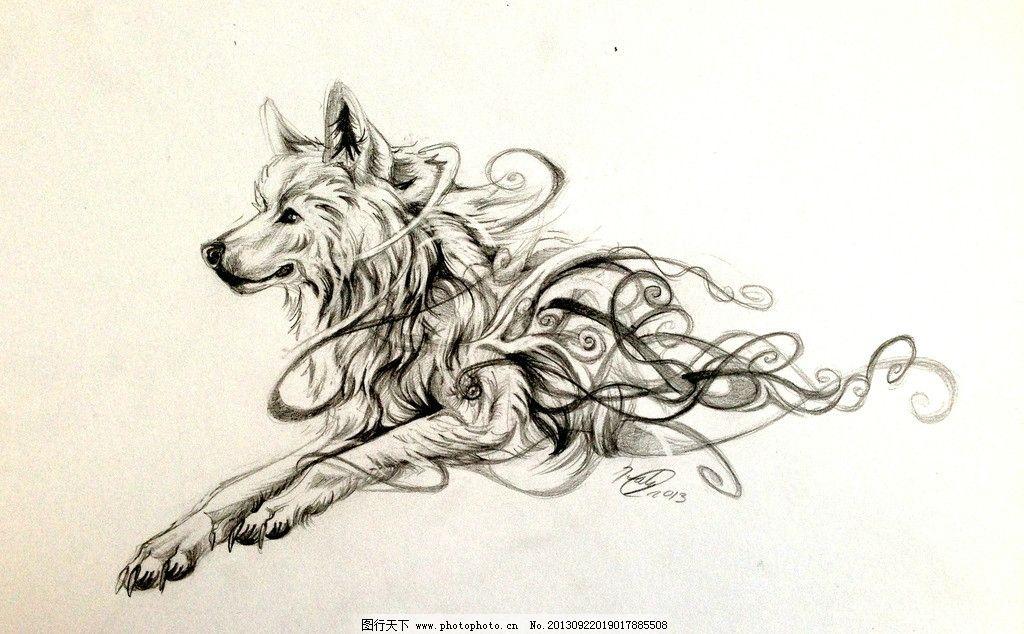 狼钢笔画图片