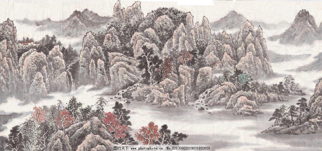 山水国画 山水画 浅降 小写意 高清 中国画 绘画书法 文化艺术 设计图片