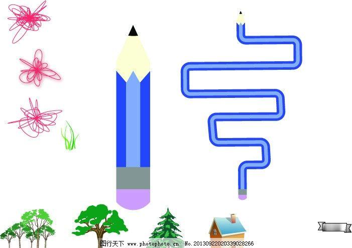 铅笔 绳结 树木 房子 森林 矢量 铅笔画笔 花纹花边 底纹边框 ai