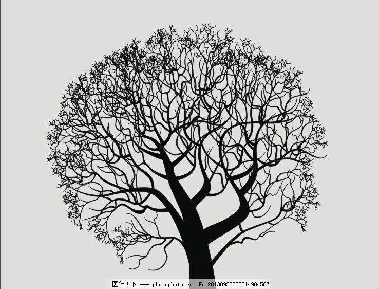 艺术玻璃 镂空素材 矢量树木 大树 广告刻绘 海报印刷 cdr 树木树叶