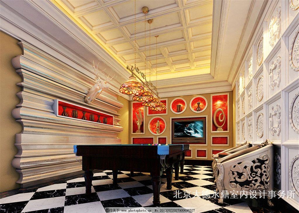 商务会所室内设计 台球桌 吊顶 吊灯 壁橱 椅子 室内设计 环境设计