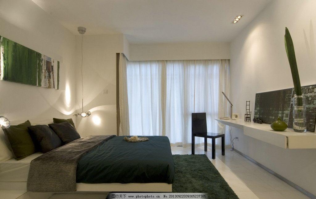 卧室 床 窗户 写字台 地毯 椅子 墙画 黑白 简约设计 床头灯