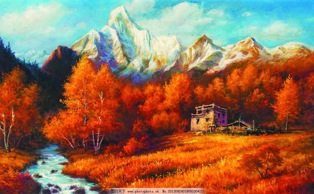 美术 油画 风景画 山岭 山野 秋林 红树 山溪 野草 秋天 油画艺术