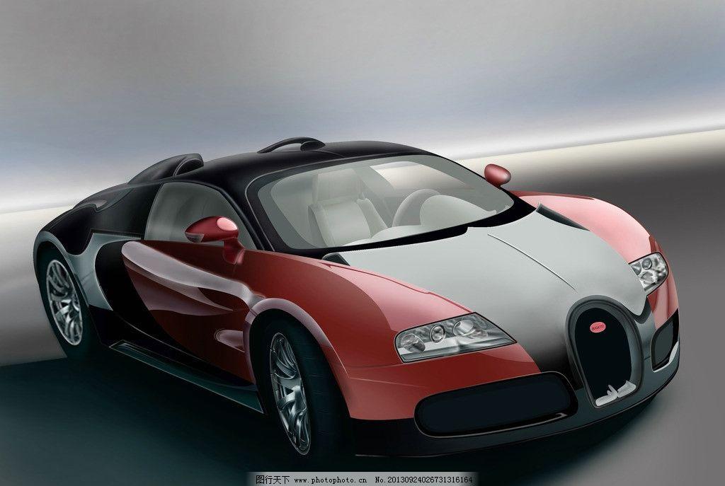 布加迪v龙 红色 手绘 汽车