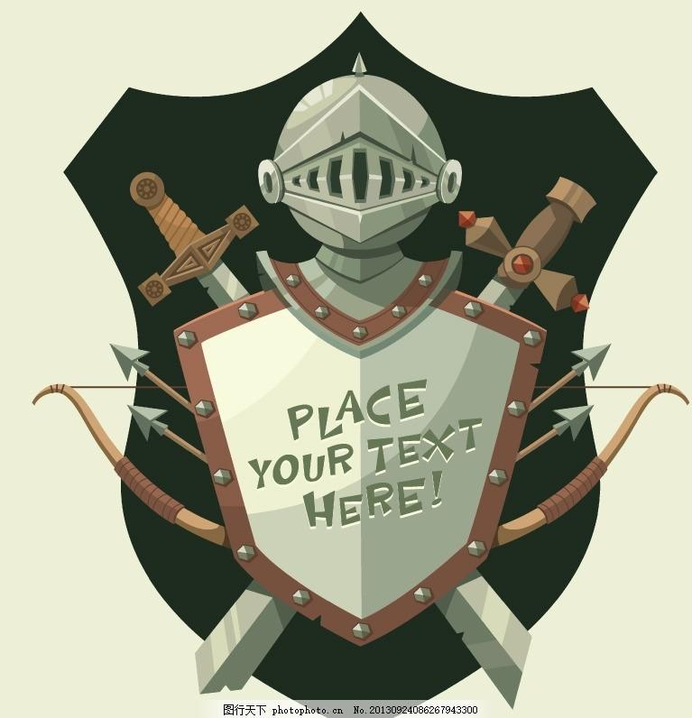 武士盔甲 剑 装饰花纹盾牌 复古 怀旧 盾牌 欧式 古典 华丽 圆形 矢量