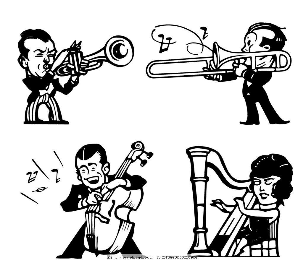 手绘黑白插图 手绘插图 插图 插画 人物插图 音乐会 演奏 音乐家 竖琴