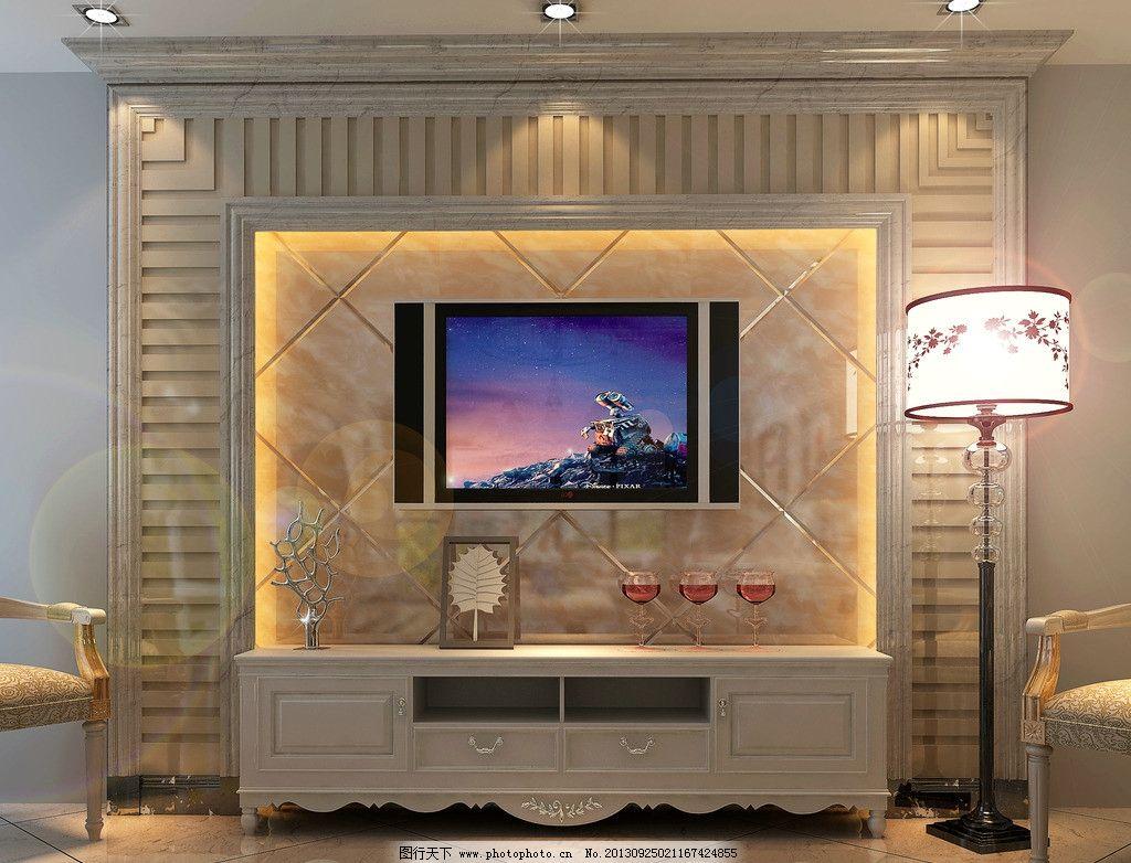 室内设计 背景墙 石材             3d 台灯 电视机 3d作品 3d设计