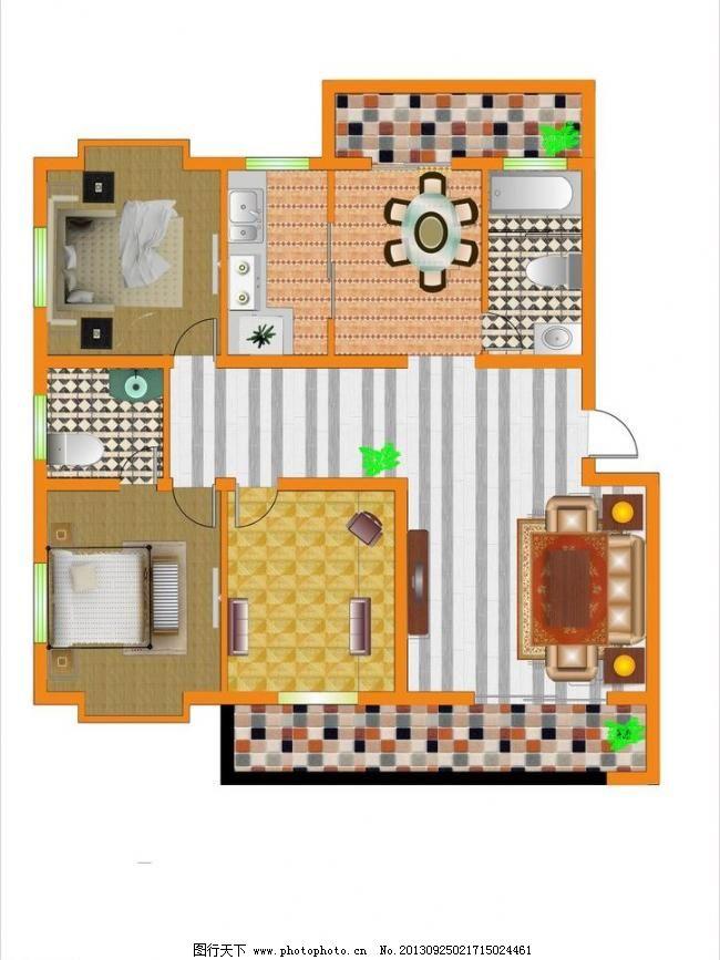 三室两厅彩色平面图图片