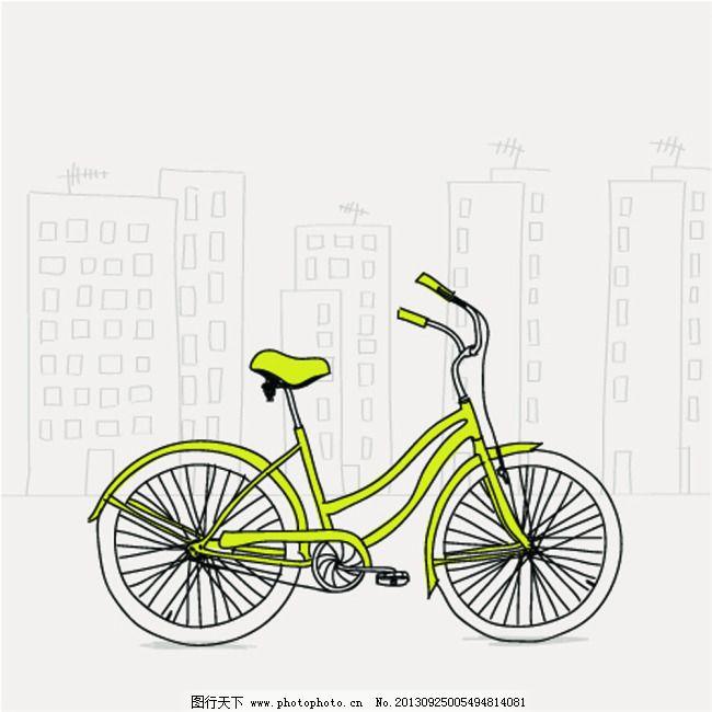 矢量手绘动画自行车免费下载 场景 风景 矢量手绘动画自行车 场景