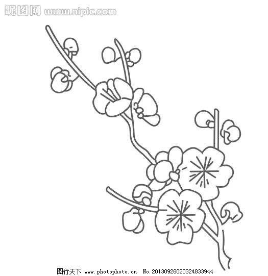 梅花 好看 一枝梅 矢量 漂亮 花纹花边 底纹边框图片