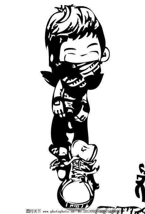 bigbang大成 韩国 卡通 疯狂 黑白 男人男性 矢量人物
