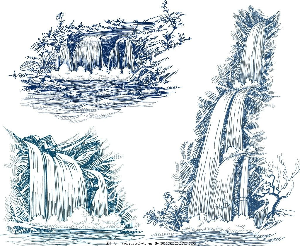 手绘风景 瀑布 素描 山水 描绘风景 矢量 山水风景