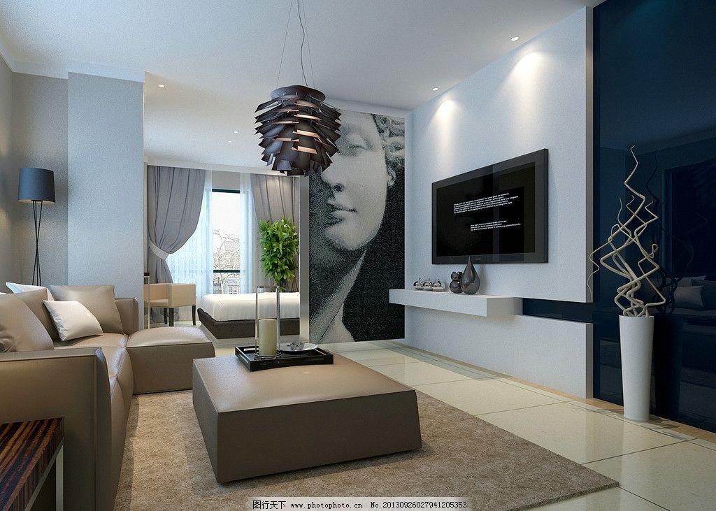 室内设计 室内装修设计 沙发 桌子 枕头 挂画 窗户 窗帘 茶杯 装饰品