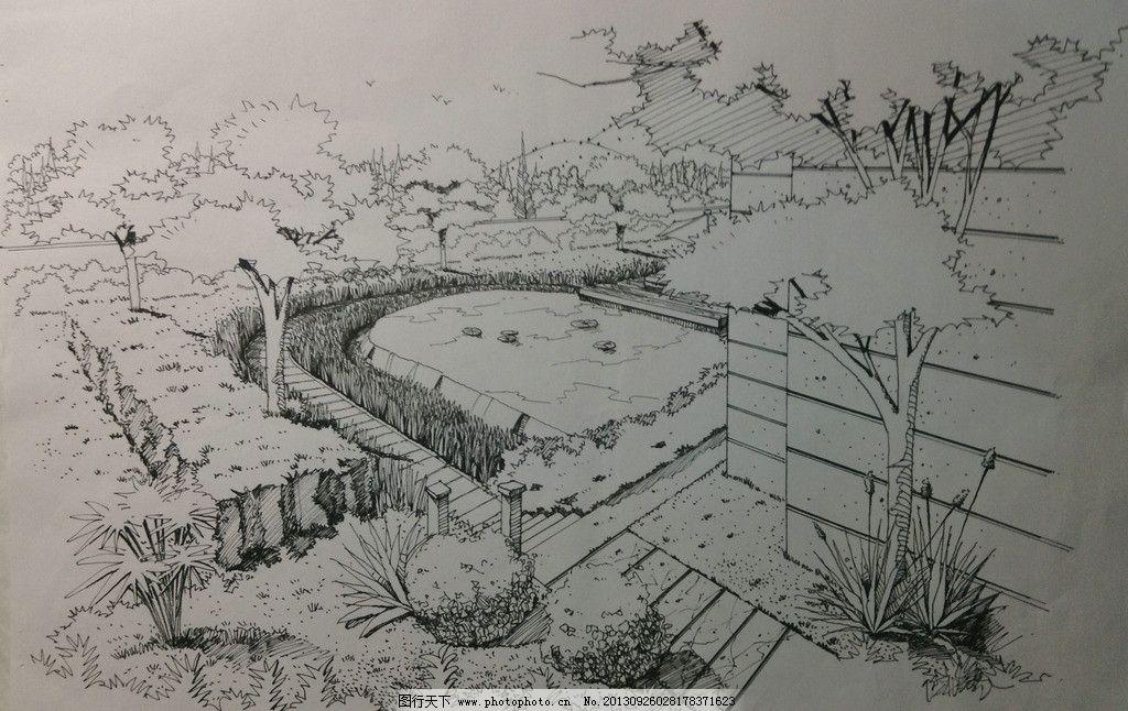 别墅景观设计 别墅景观 景观设计 植物画法 手绘效果图 泳池效果图