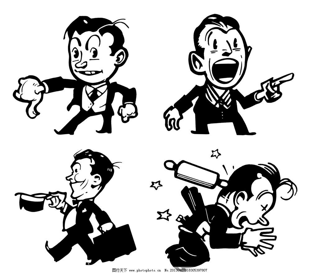 手绘黑白插图 手绘插图 插图 插画 黑板报 杂志插图 动漫人物 动漫