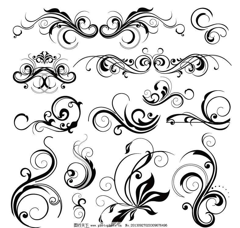 花纹图案 花边 边框 花纹 古典花纹 底纹图案 矢量图 欧式花纹 黑白