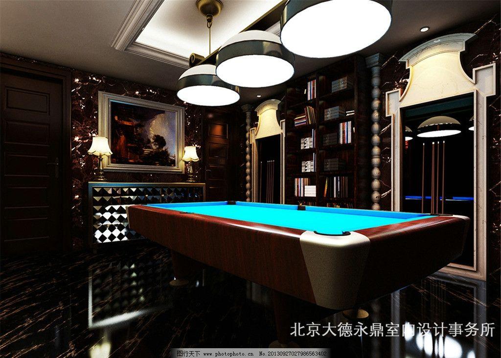 室内设计效果图 吊灯 台球桌 瓷砖 油画 壁橱 室内设计 环境设计 设计