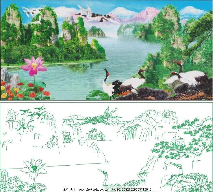 山水 仙鹤 鹤 松 迎客松 艺术玻璃 白描 线稿 工艺玻璃 彩雕玻璃 国画