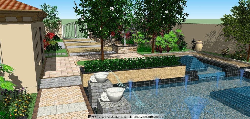 庭院水景 水景 别墅景观 园林 植物 景观设计 环境设计 设计 jpg
