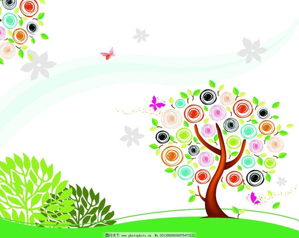 卡通 背景 树木 大树 树叶 绿叶 绿植 植物 插画 水墨 水彩 背景画 动