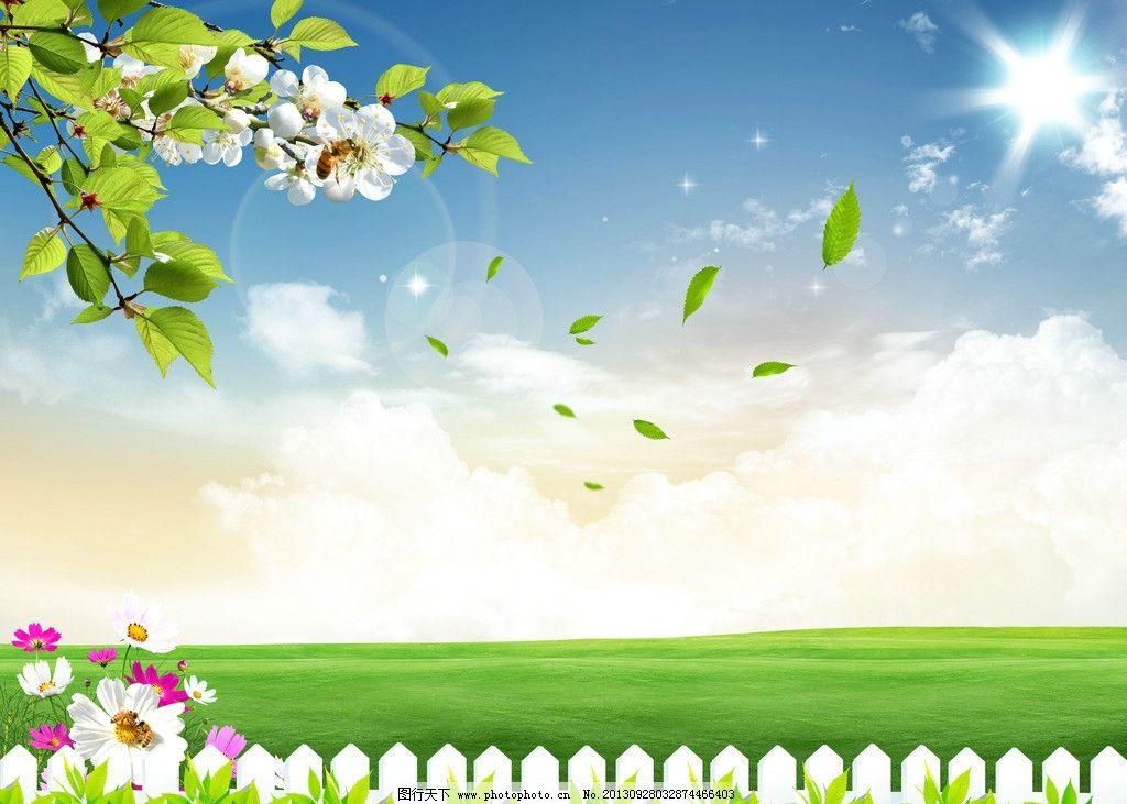 蓝天 白云 草地 鸽子阳 蝴蝶 菊花牛 农场 房子 别墅 树林 蓝天白云