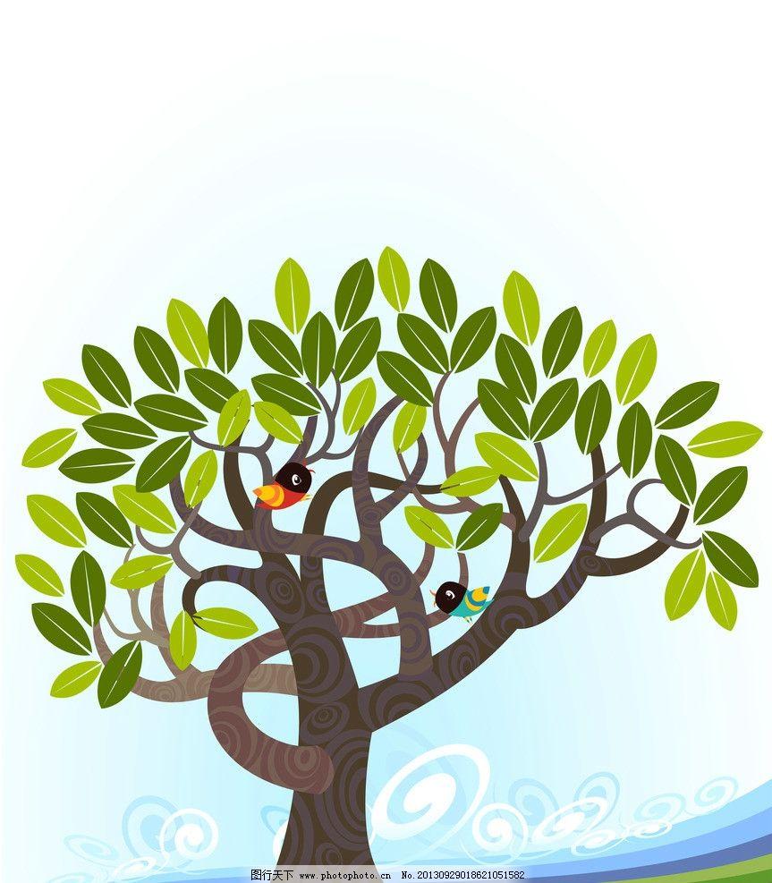 手绘树 树与鸟 背景 环保 卡通动植物 动漫动画