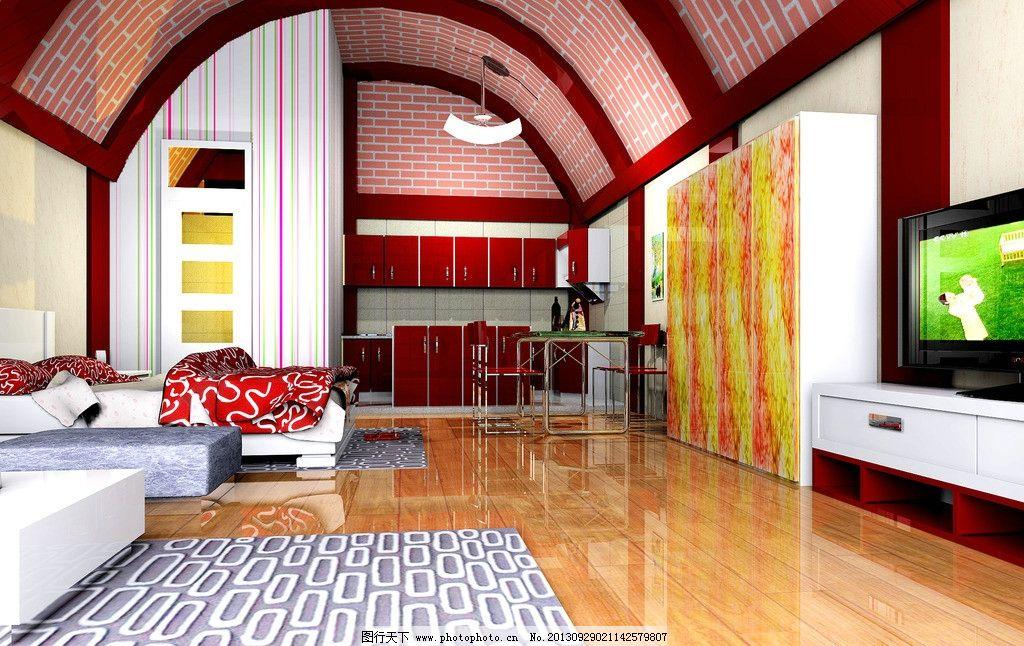 室内设计 窑洞 室内 装修 欧式 别墅 床 电视机 地毯 3d设计 设计 59