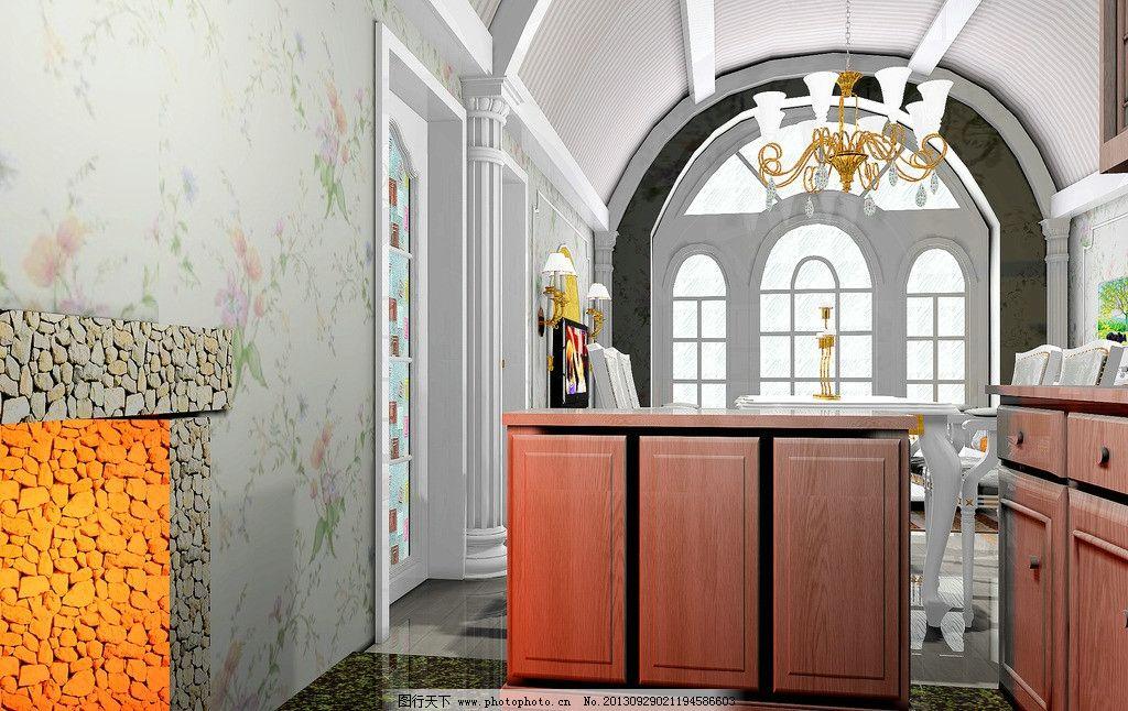 室内设计 窑洞 装修 欧式 别墅 吊灯 柜子