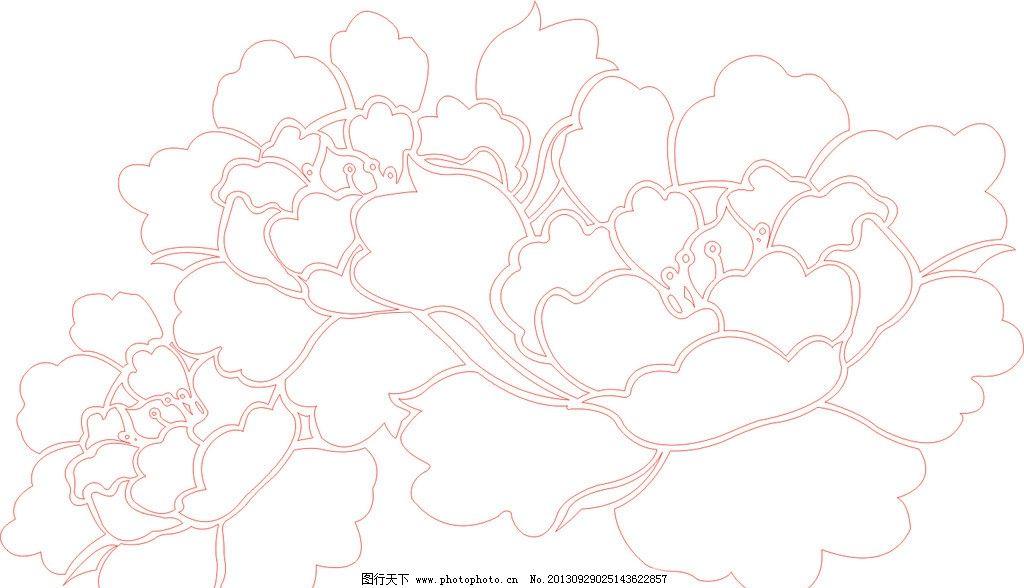 牡丹花矢量雕刻图图片