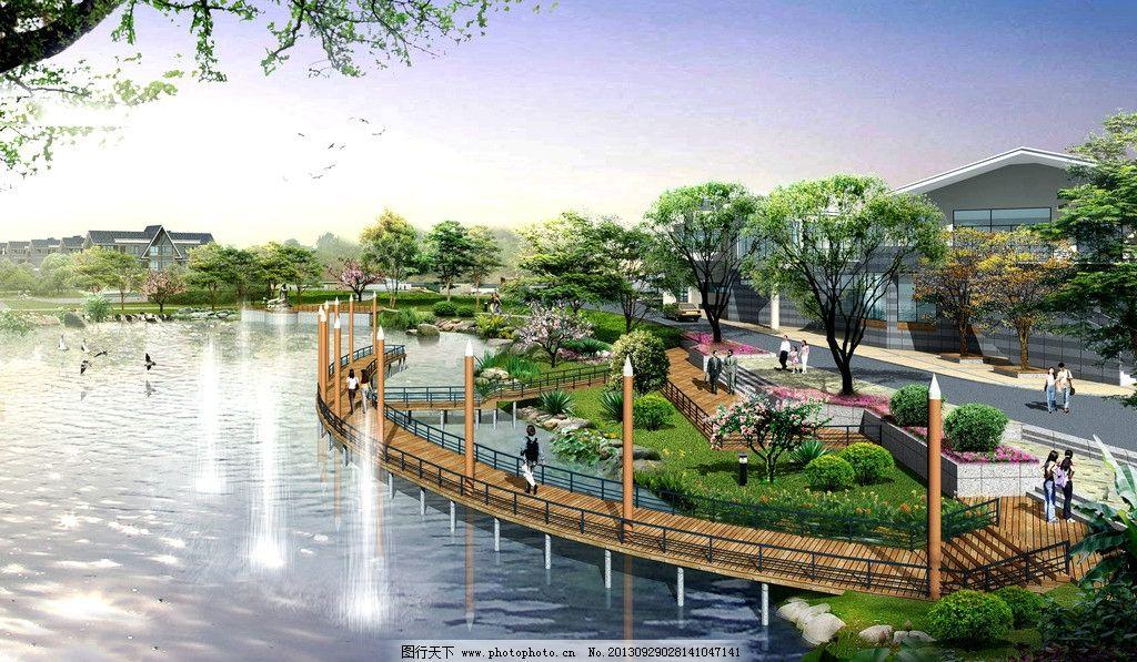 小区园林景观设计图 小区效果图 室外园林 3d效果图 景观设计 环境