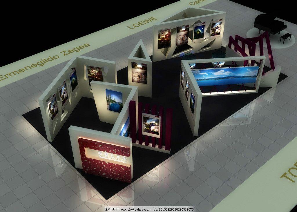 展示厅俯瞰图 展厅效果图 3d效果图 桌椅 摄影展 立体 展览设计 环境